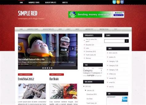 simple red blogger template lovely templates
