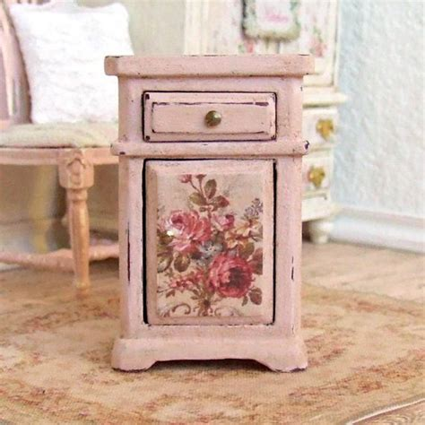 shabby chic dollhouse furniture dollhouse miniature pink bedside cabinet table furniture shabby