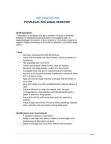 Defense Attorney Description by Paralegal And Assistant Description Template Sle Form Biztree