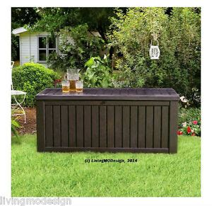 keter rockwood 150 gallon patio storage bench weatherproof - Keter 150 Gallon Patio Storage Bench Deck Box
