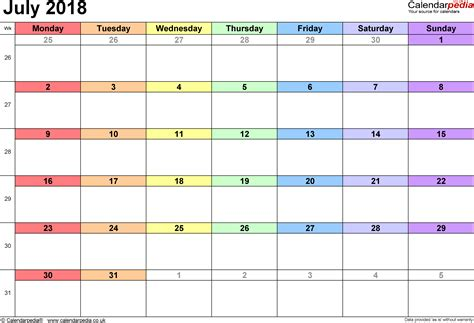 2018 Calendar July Calendar July 2018 Uk Bank Holidays Excel Pdf Word Templates