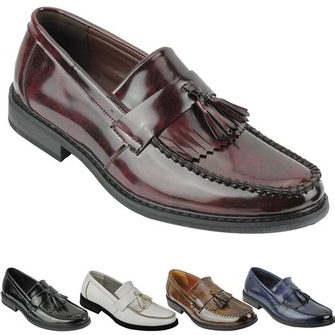 tassel loafers style mens vintage style polished faux leather tassel loafers