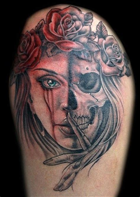 half woman half skull tattoo designs typical colored half half skull with roses