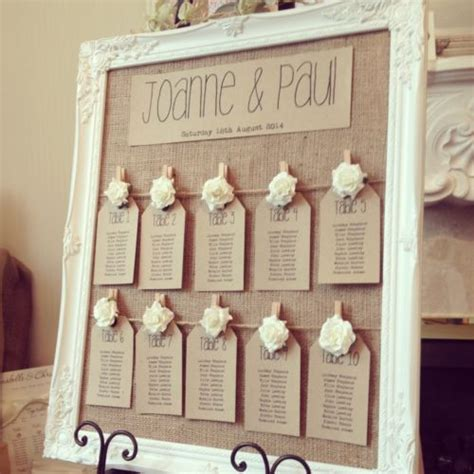 rustic antique framed vintage shabby chic wedding table seating plan mariage place de table