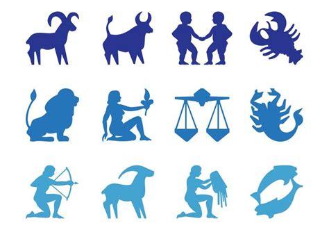zodiac signs silhouettes   vector art stock