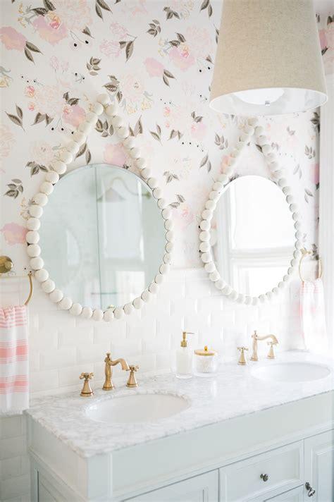 airy modern feminine bathroom  leslie style floral