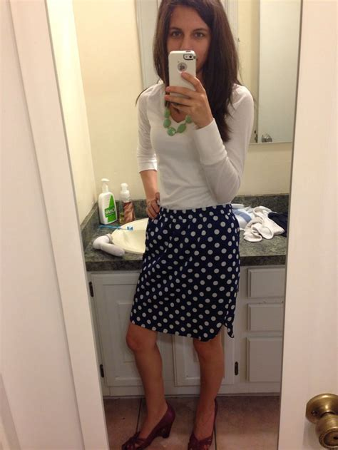 White Lace Sleeved Shirt And Polka Dot Skirt 30451we M white sleeve shirt navy blue and white polka dot satin skirt mint green