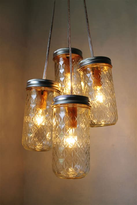 Firefly Dance Mason Jar Chandelier 4 Quilted Pint Jars Jars Light Fixture