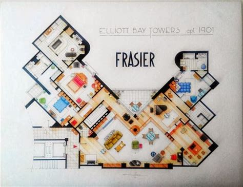 frasier apartment floor plan frasier s apartment interiors pinterest