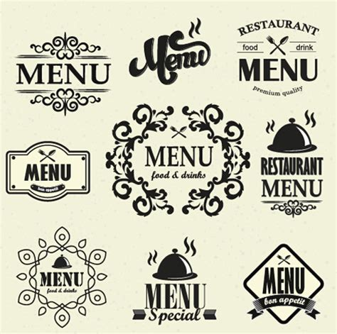 menu design label restaurant menu labels vintage vector 03 vector label