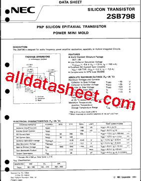 a798 transistor equivalent 2sb798 데이터시트 pdf nec