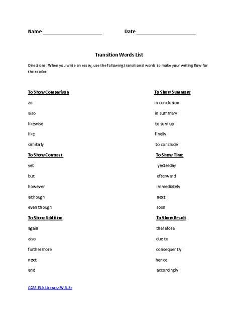 8th Grade Worksheets Pdf by 20 Best Images Of Transition Words Worksheet Pdf