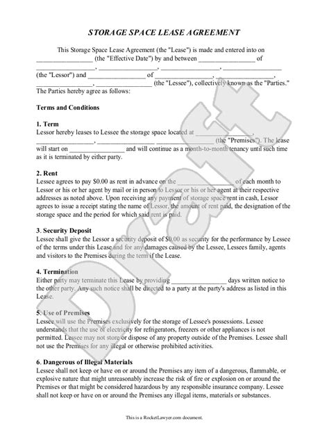 Storage Rental Agreement Self Storage Unit Lease Agreement Form Storage Lease Agreement Domain Lease Agreement Template
