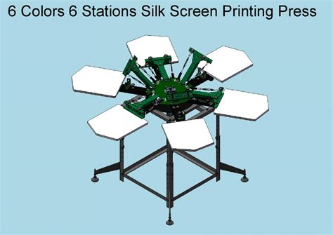 6 color screen printing press new rotary 6 color 6 station silk screen printing