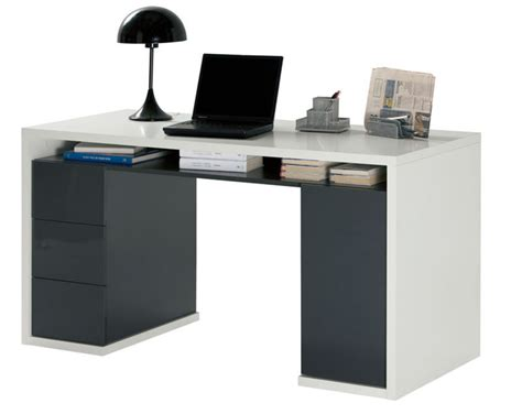 bureau 3 en 1 bureau 3 tiroirs 1 porte moneta 2 blanc gris fonce