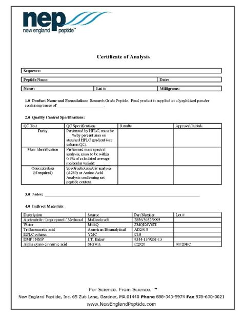 Certificate Of Analysis Quality Control Information Nep Certificate Of Analysis Template