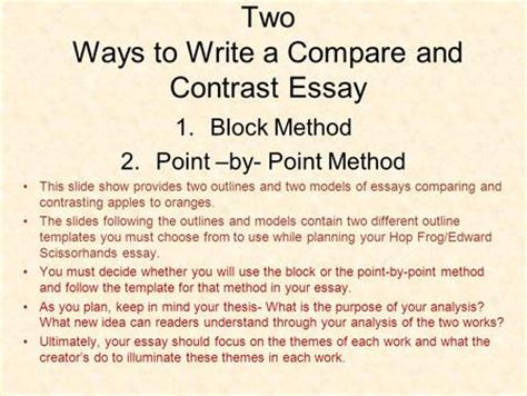 Compare And Contrast Essay Format Point By Point by Point By Point Organizational Strategy For A Comparison Essay Drugerreport732 Web Fc2