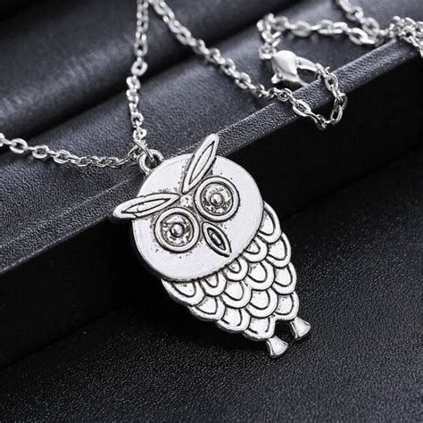 Vintage Glam Animal Necklaces by Vintage Retro Owl Silver Animal Pendant Sweater