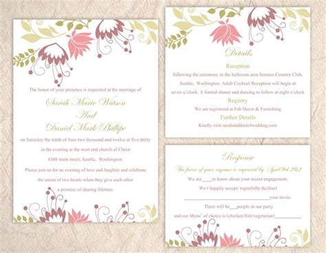 colorful wedding invitation templates diy wedding invitation template set editable word file