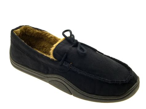 mens lined slippers mens warm slippers moccasins fauxn suede sheepskin fur