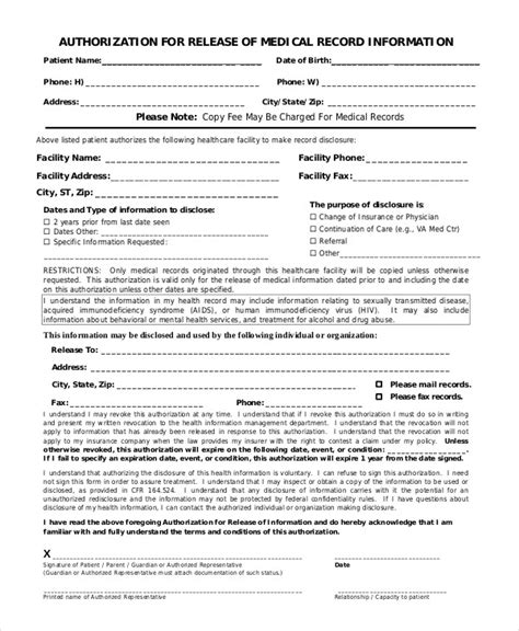 authorization to release information form template 10 printable authorization forms pdf doc
