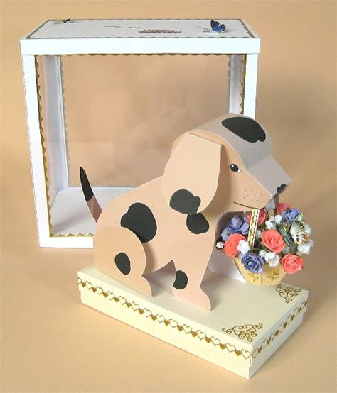 A4 Card Making Templates Quot Barney Quot 3d Dog With Basket Display Box Card Carousel Ebay Card Craft Templates