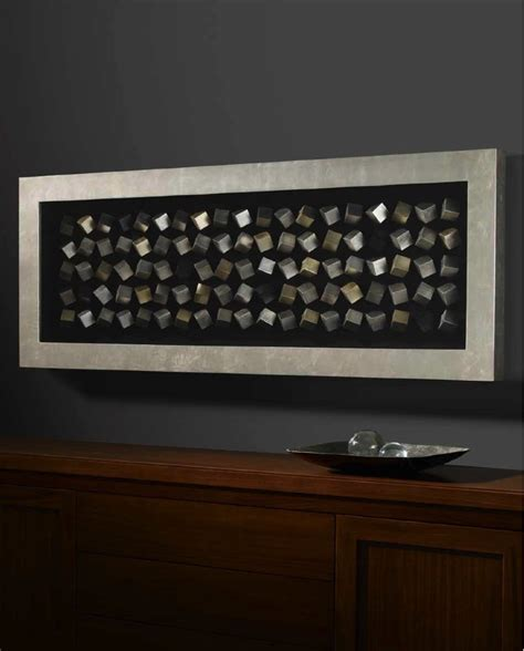 Rectangle Silver And Gold Cube Framed Box Wall Art Cube Wall Decor