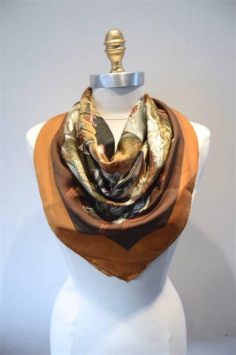Beautiful Things From Vintage Scarves by Hermes Vintage Gibiers Silk Scarf In Brown At 1stdibs