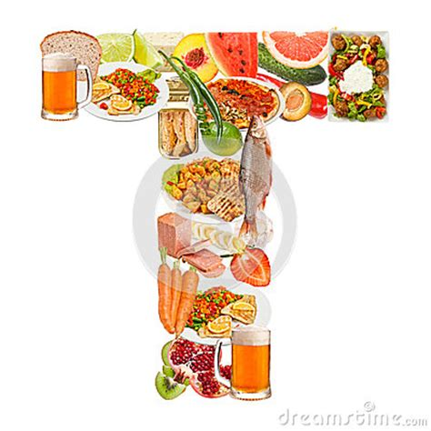 up letter with food letter t made of food stock image image 26400581
