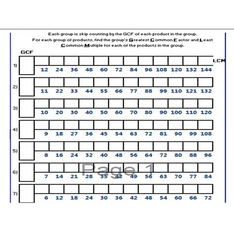printable math worksheets lcm gcf least common multiple worksheet 5th grade least common