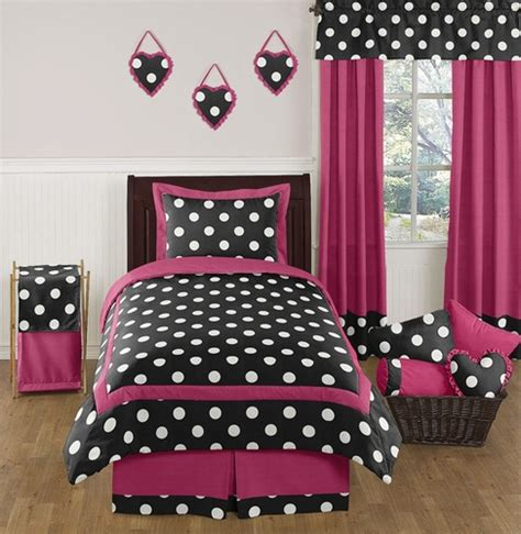 pink polka dot bedding hot pink black and white polka dot childrens and teen