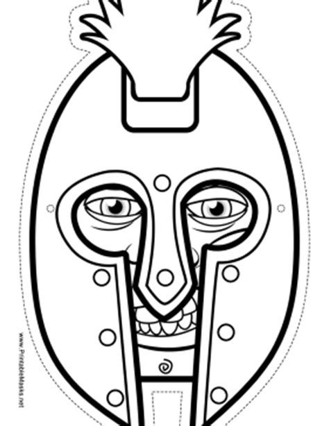 ancient greek mask template printable warrior mask to color mask
