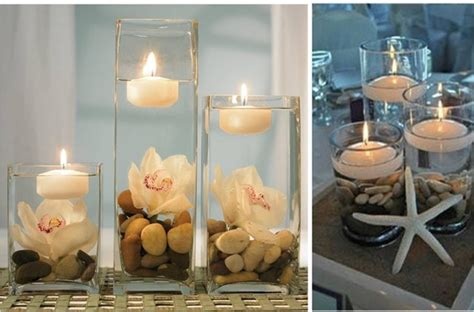 candele e fiori centrotavola con ortensie e candele idea creativa della