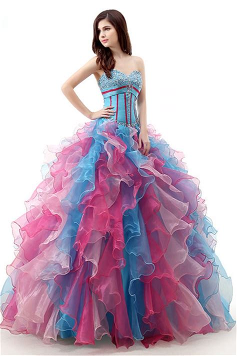 multi color prom dress lovely gown multi color organza ruffle corset prom dress