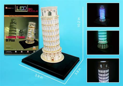 Cubic Puzzle 3d Leaning Tower Of Pisa Large Size leaning tower of pisa with led lighting 3d puzzle puzzlewarehouse