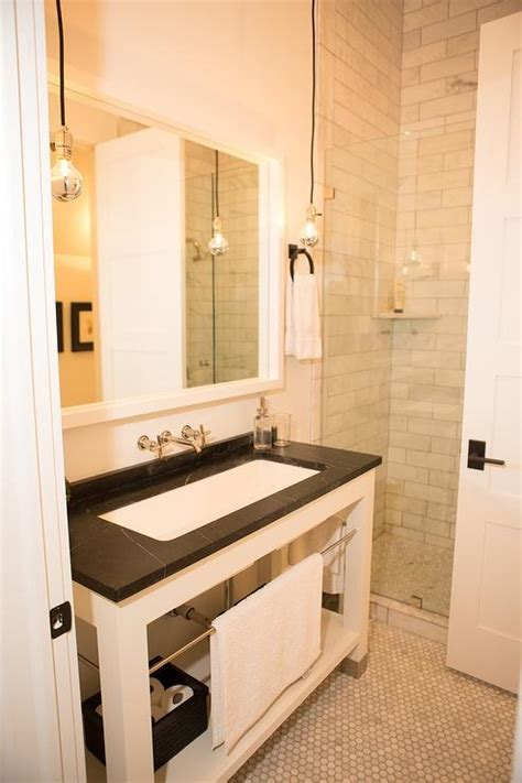 soapstone bathroom white washstand with soapstone countertop transitional