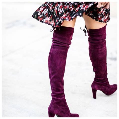 shoes boots purple suede suede boots the knee