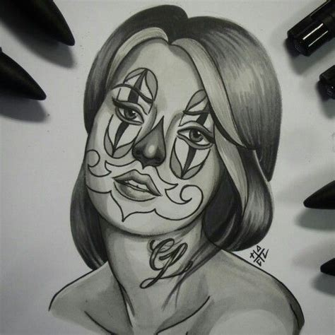 a chicano chicana style drawing by dom mi familia