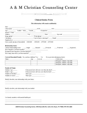 christian counseling intake form for christian counseling