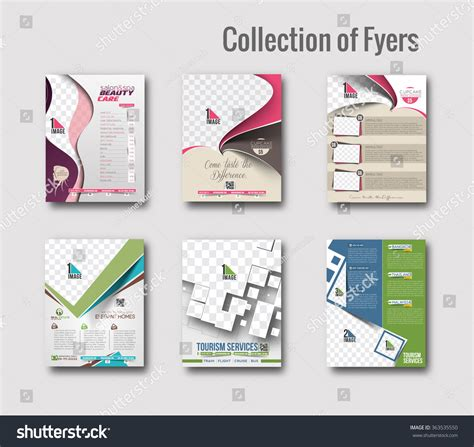 poster design kit set of flyer poster design in a4 size template stock