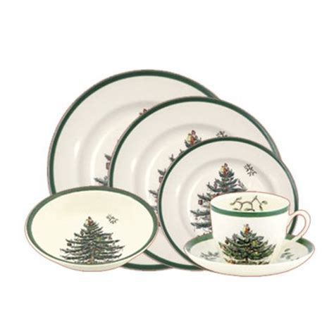 havens spode christmas tree 24 piece starter dinner set