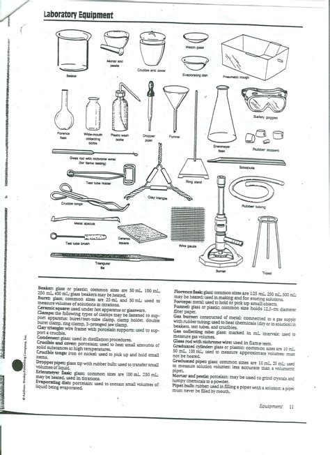 Lab Equipment Worksheet by Chemistry Lab Equipment Images Chemistry