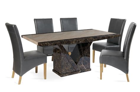 Marble Furniture Products by Tenore 180cm Marble Effect Dining Table With 4 Cannes Grey