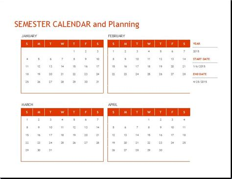 semester plan template student semester schedule and planning template word