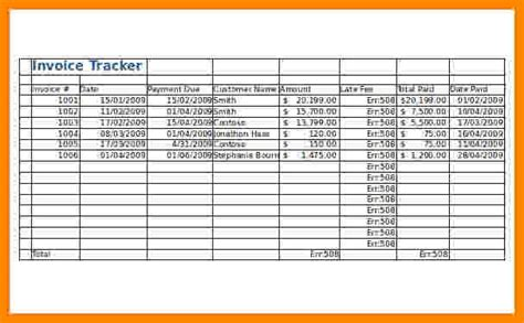 invoice tracking spreadsheet short paid invoice