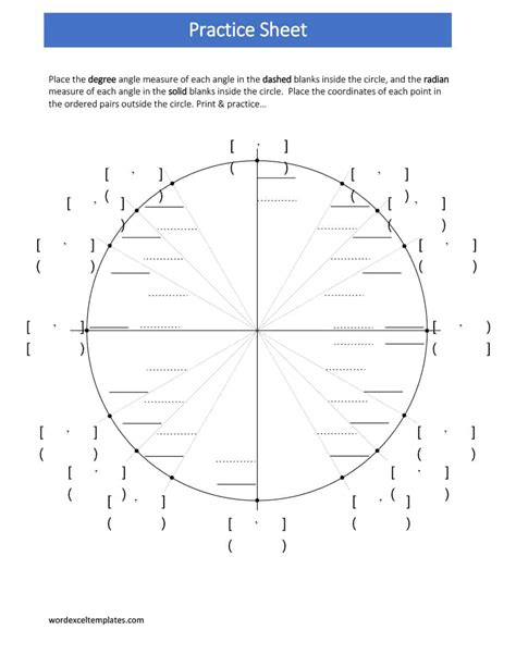 printable unit circle charts diagrams sin  tan