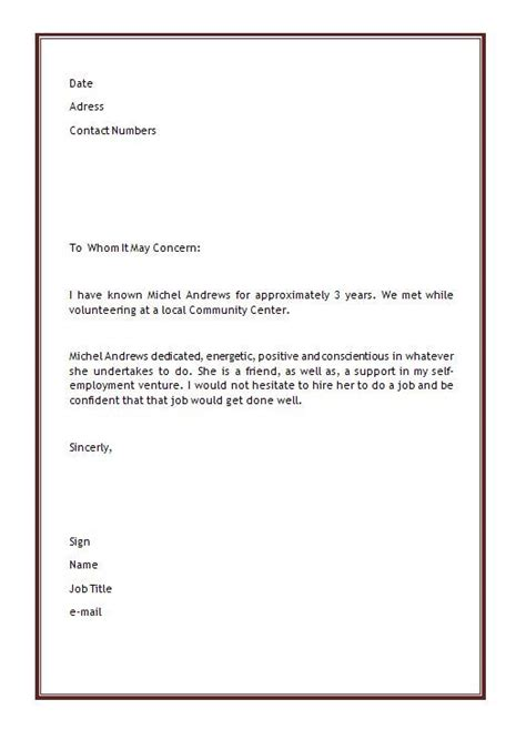 personal recommendation letter personal letter of recommendation template microsoft