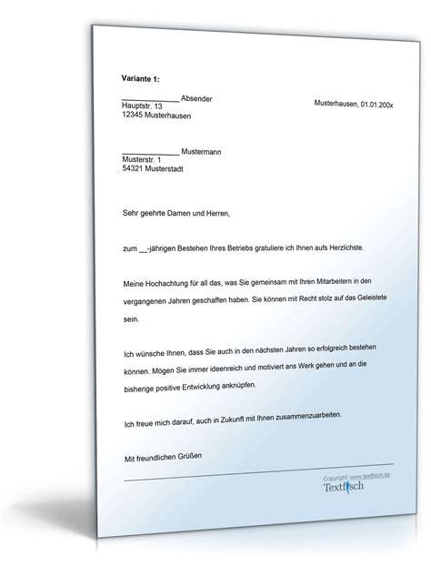 Musterbriefe Geschaeftsbriefe gratulation firmenjubil 228 um vorlage zum