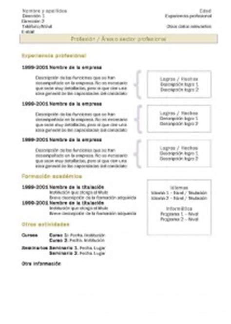 Plantilla Curriculum Vitae Union Europea c 243 mo hace un curr 237 culum vitae y plantillas o moldes para