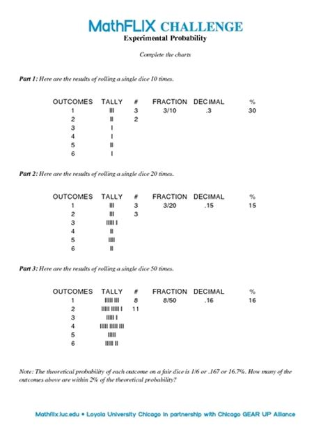 Experimental Probability Worksheet by Probability Worksheets Grade 9 Teaching